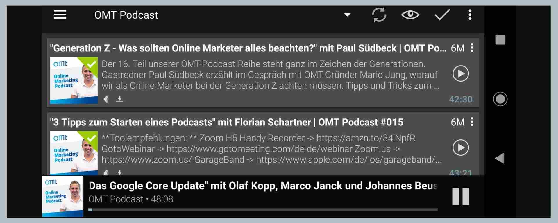 OMT-Podcast (Podcast-App-Ansicht)