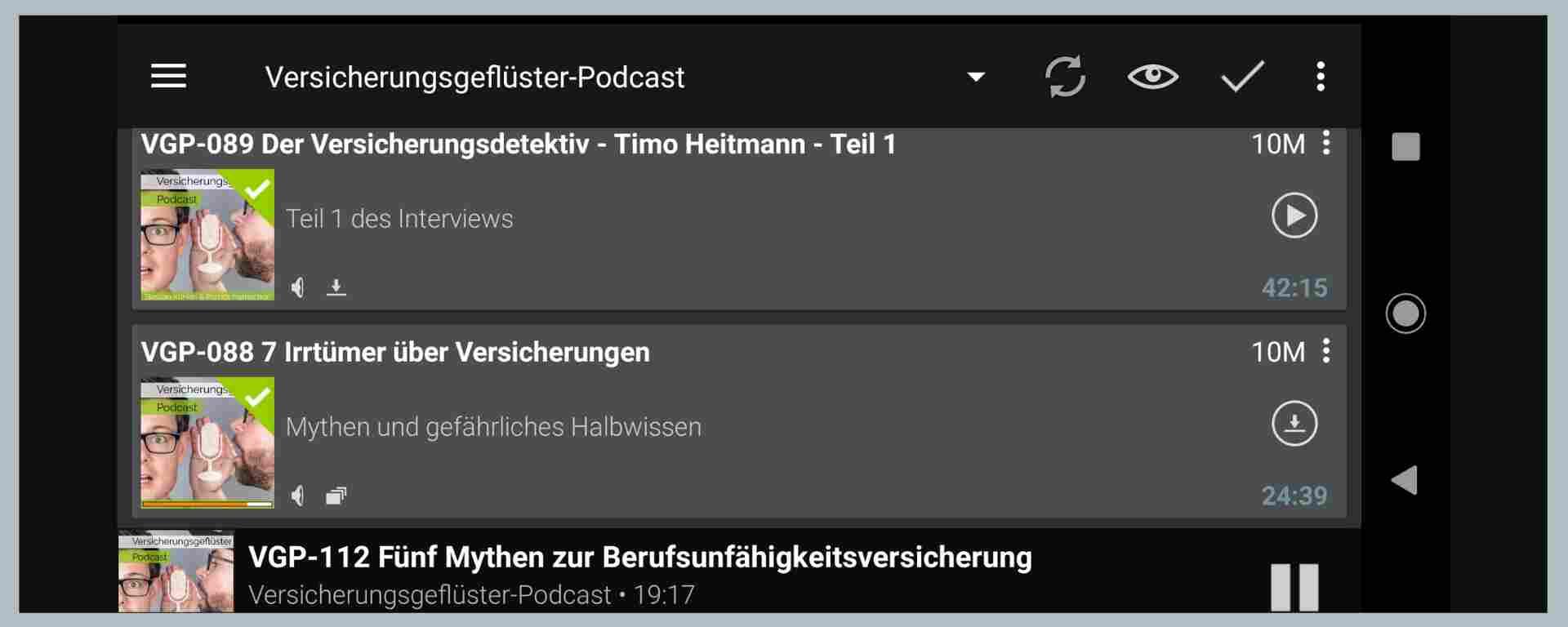 Versicherungsgeflüster-Podcast (Podcast-App-Ansicht)