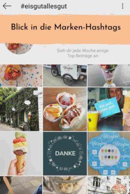 Screenshot Instagram: Marken-Hashtags einer Eisdiele